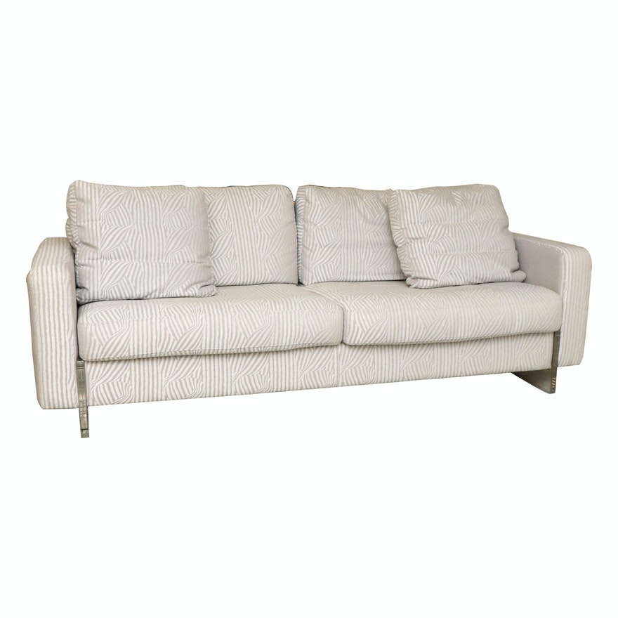 Modernist Style Linear Patterned Upholstered Sofa with Acrylic Frame