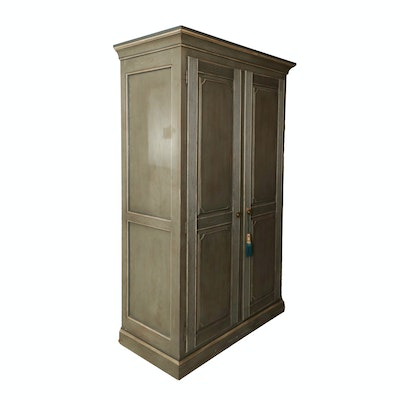 Drexel Wood Wardrobe in Teal Blue Distressed Finish, Late 20th Century