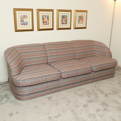 Classics Geometric Upholstered Sofa, Late 20th Century
