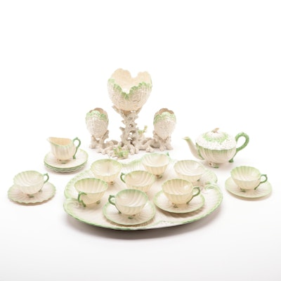 "Belleek ""Neptune"" Porcelain Tea Service and Centerpiece, Late 19th/Early 20th C."