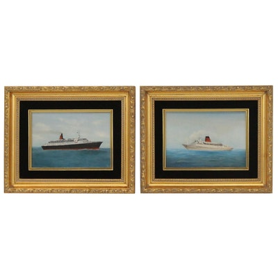"""Oil Paintings of Cruise Ship and """"Vista Fjord,"""" Late 20th Century"""