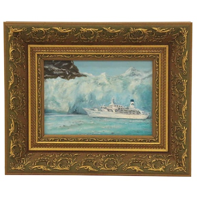 "Nautical Oil Painting ""Sun Princess - Alaska,"" 1986"