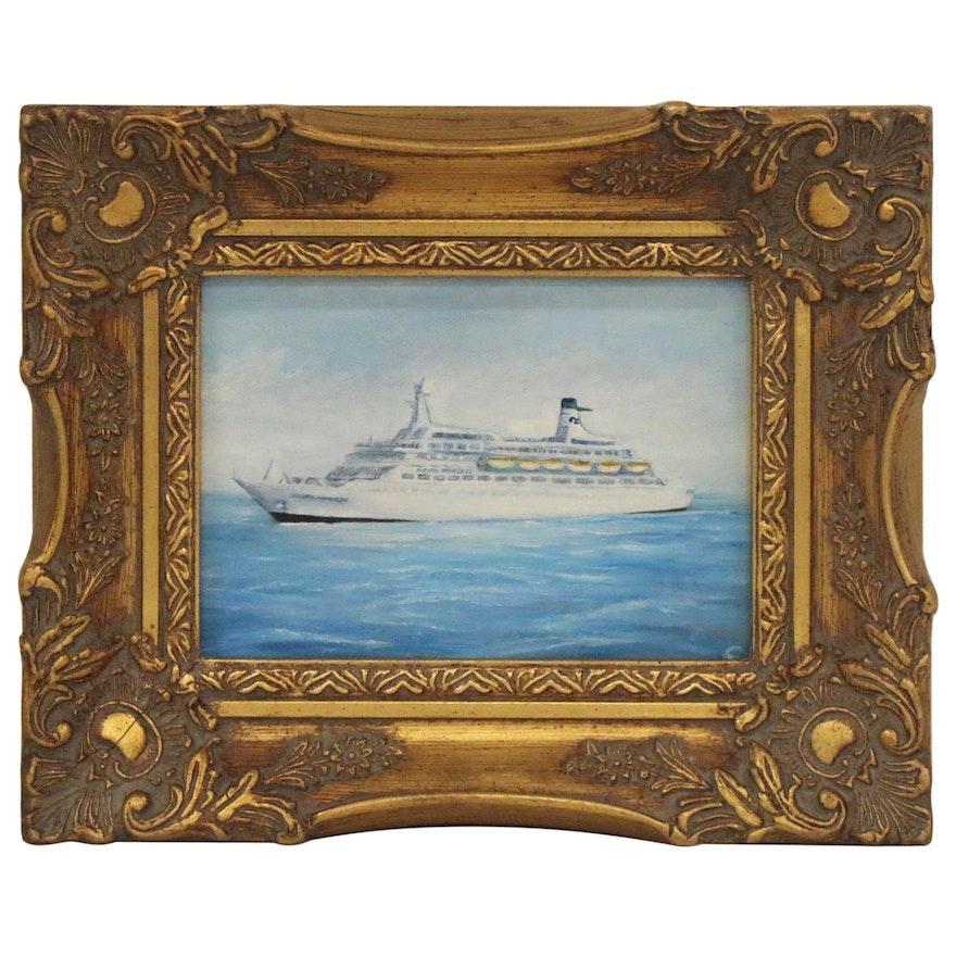 "Nautical Oil Painting ""Pacific Princess Mediterranean,"" 1985"