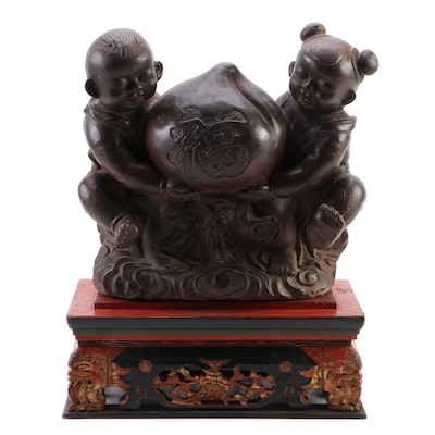 """Chinese Bronze Lucky Peach with """"Fù"""" Statue on  Polychrome Wood Base, Antique"""