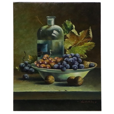 Gyorgyi Voros Still Life Oil Painting, Late 20th Century