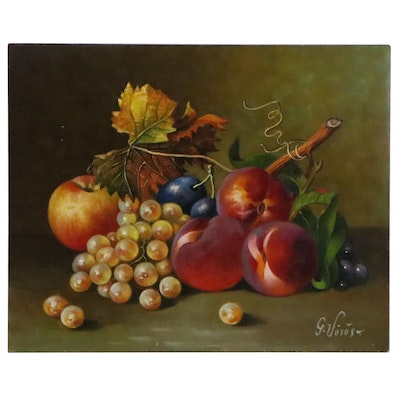 Gyorgyi Voros Oil Painting of Fruit Still Life, Late 20th Century
