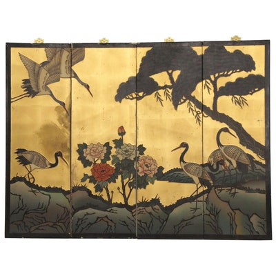 East Asian Landscape with Cranes Tetraptych Panels