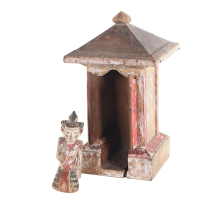 Balinese Inspired Spirit House with Figure, 20th Century