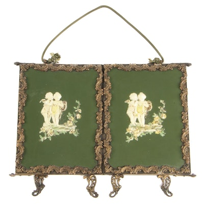 Victorian Tri-Fold Vanity Mirror with Raised Celluloid Cherubs, Antique