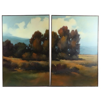 "Gregory Stocks Diptych Oil Painting ""Morgan Windbreak,"" 2002"