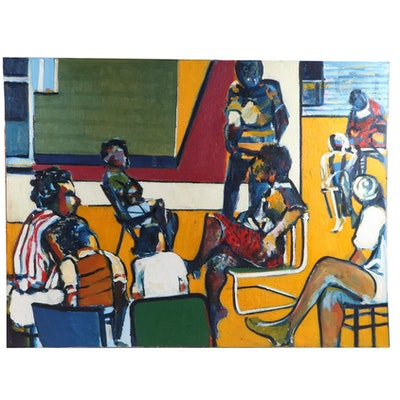Curtis Barnes Oil Painting of Backyard Scene, 1989
