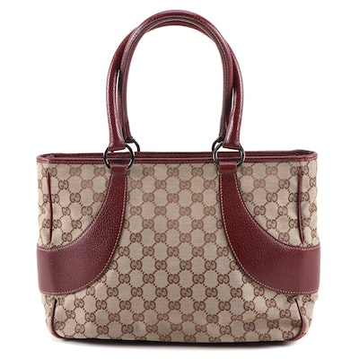 Gucci GG Canvas and Burgundy Leather Medium Shoulder Bag