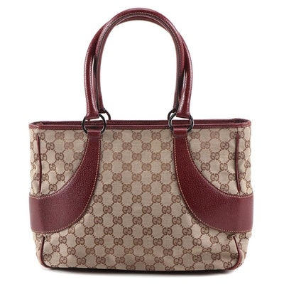 Gucci GG Canvas and Burgundy Leather Medium Shoulder Bag