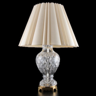 Paul Hanson Cut Glass and Brass Table Lamp