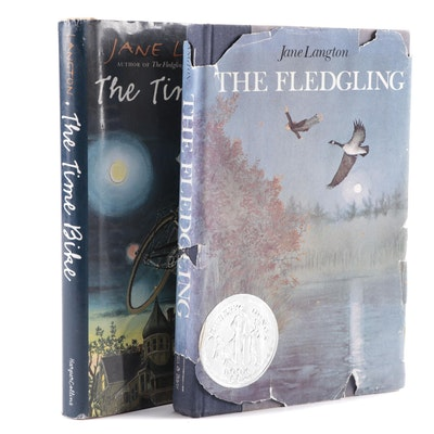 "Signed with Drawing ""The Fledgling"" and ""The Time Bike"" by Jane Langton"