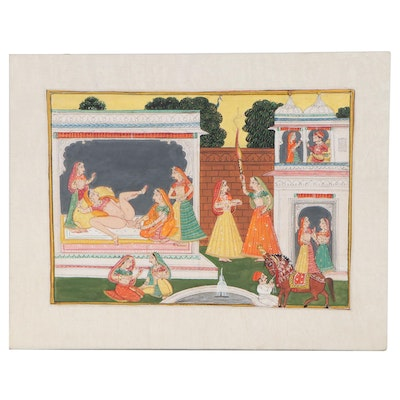 Indian Rajput Style Gouache Painting of Woman Giving Birth, 20th Century