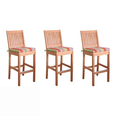 "Gloster ""Kingston"" Teak Bar Chairs with Striped Seat Cushions"