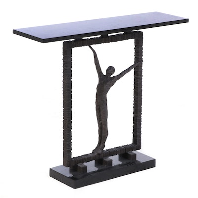 """Global Views """"Reach Out of the Box"""" Granite Top Console Table, Contemporary"""
