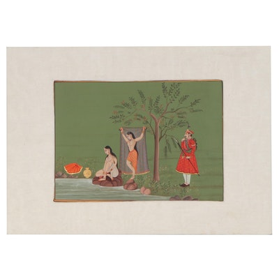 Indian Rajput Style Goauche Painting of Female Bathers, 20th Century