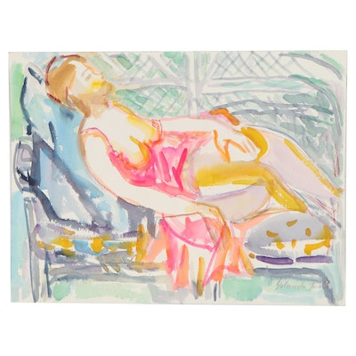 Yolanda Fusco Watercolor Painting of Reclining Female Figure