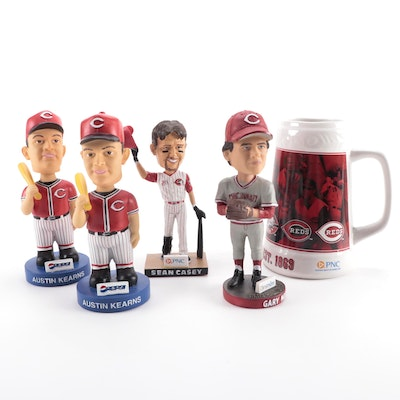Cincinnati Reds Bobbleheads Including Sean Casey, Gary Nolan, and Reds Stein