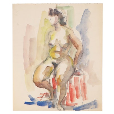 Yolanda Fusco Charcoal and Watercolor Study of Female Nude