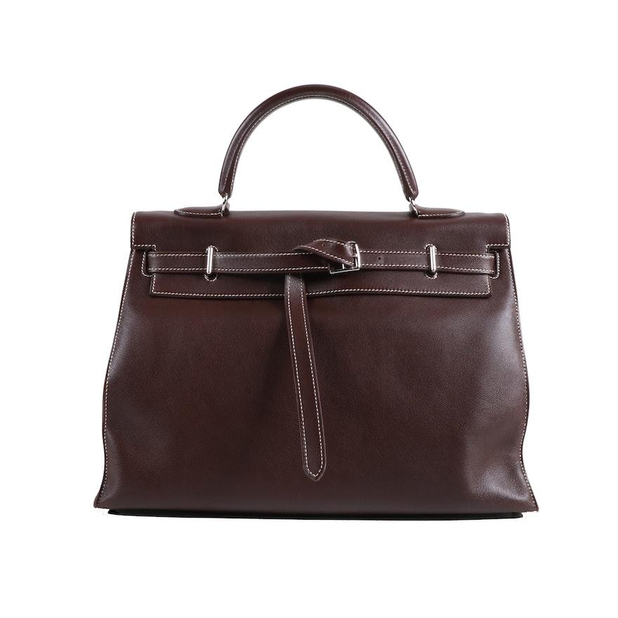 Hermès Kelly Flat 35 Handbag in Havane Swift Leather with Palladium Hardware