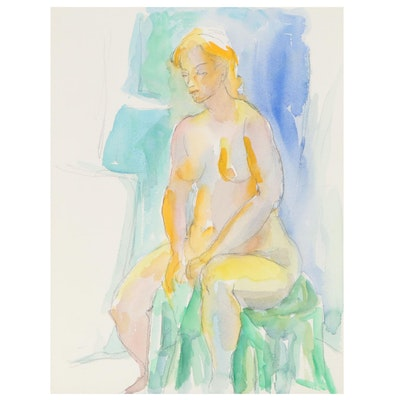Yolanda Fusco Watercolor Sketch of Seated Female Nude