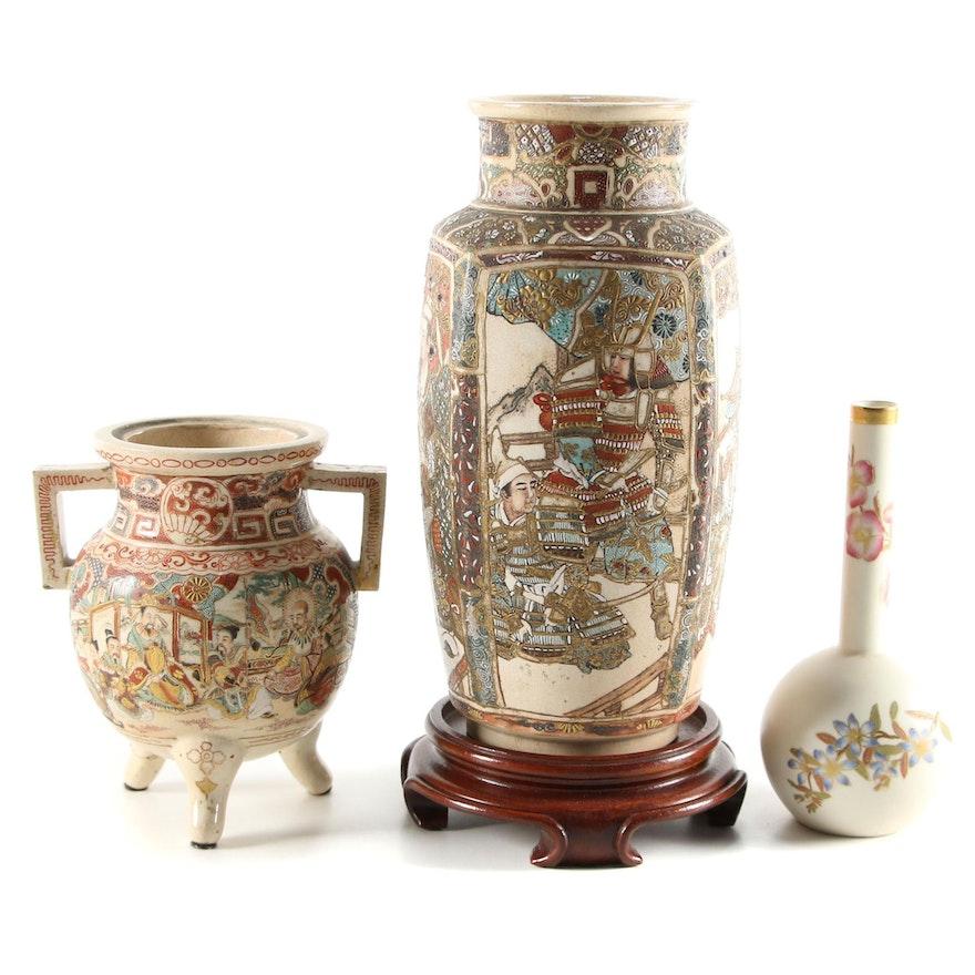 Royal Worcester Bone China Bud Vase With Japanese Satsuma Vase and Censer