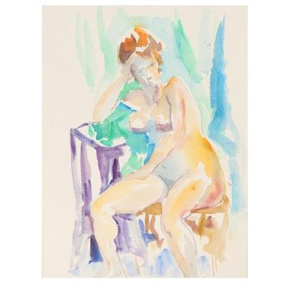 Yolanda Fusco Watercolor Sketch of Seated Female Nude