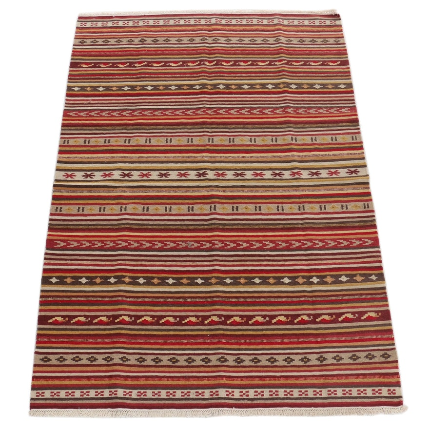 4'8 x 7'0 Handwoven Turkish Kilim Rug