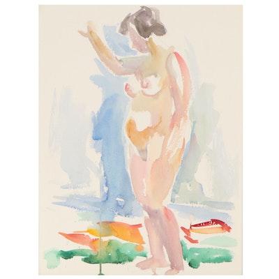 Yolanda Fusco Watercolor Sketch of Standing Female Nude