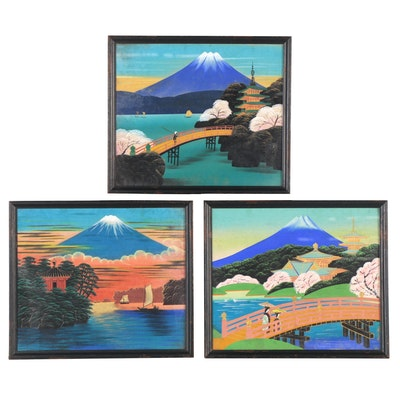 Japanese Folk Art Gouache Paintings of Mount Fuji, Mid to Late 20th Century