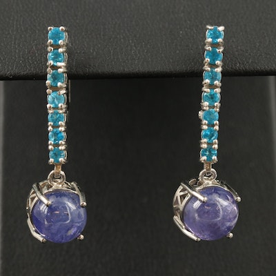 Sterling Silver Apatite and Tanzanite Dangle Earrings