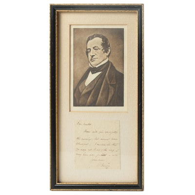 Washington Irving Signed Autographed Letter,  Full JSA