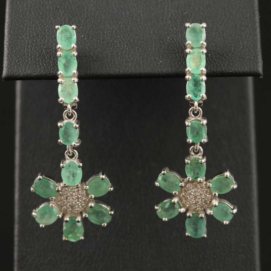 Sterling Silver Emerald and Cubic Zirconia Floral Motif Earrings