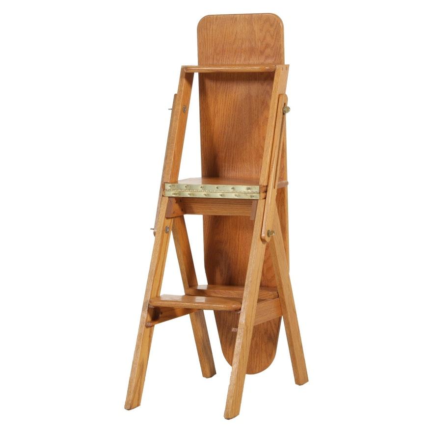 Oak Metamorphic Ironing Board and Step Ladder Chair