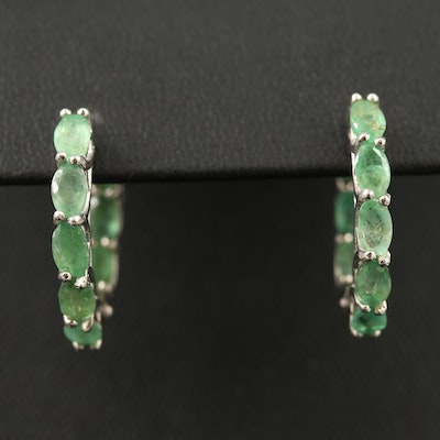 Sterling Silver Emerald Inside Out Hoop Earrings
