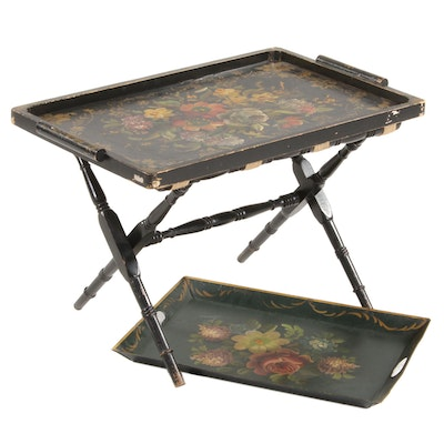 Victorian Hand-Painted Tole and Wooden Trays with Luggage Stand, Antique