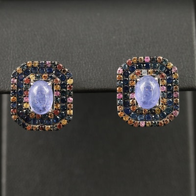 Sterling Silver Tanzanite and Sapphire Earrings