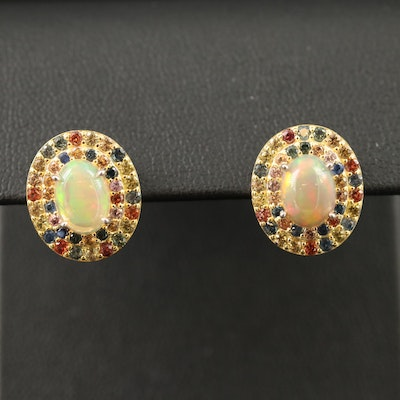 Sterling Silver Opal Earrings with Double Sapphire Halos