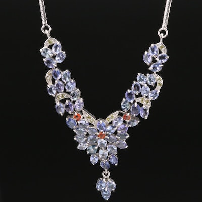 Sterling Silver Tanzanite and Sapphire Stationary Pendant Necklace