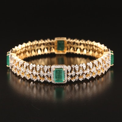 18K 9.50 CTW Emerald and 5.30 CTW Diamond Bangle