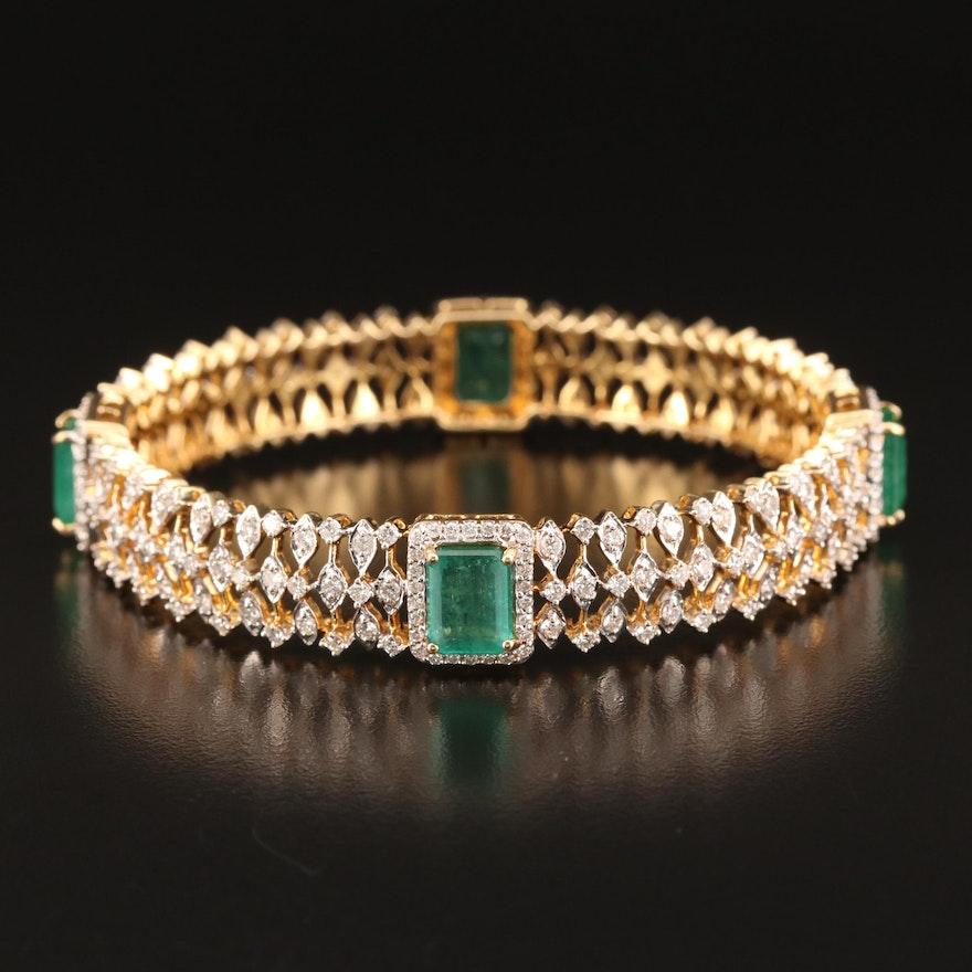 18K 9.50 CTW Emerald and 5.30 CTW Diamond Bangle