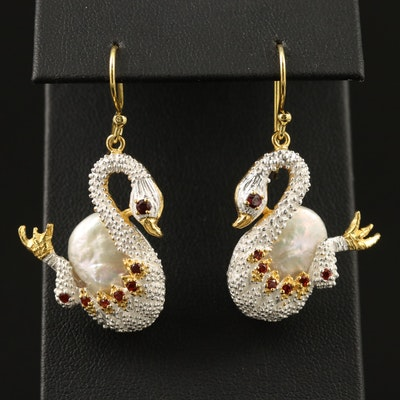 Sterling Silver Pearl and Garnet Swan Earrings