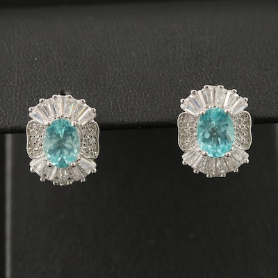 Sterling Silver Apatite and Cubic Zirconia Button Earrings