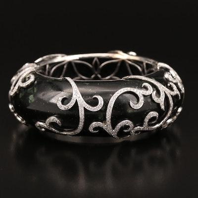 Nini 18K 8.12 CTW Diamond and Marble Bangle