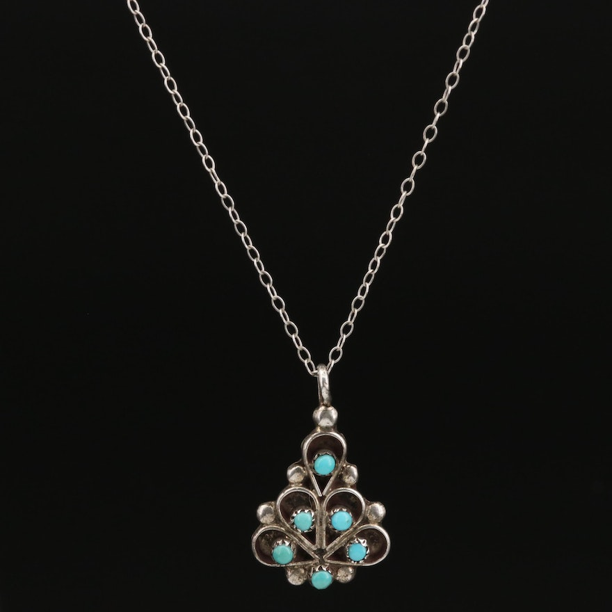 R. D. Malie Signed Southwestern Style Sterling Silver Turquoise Pendant Necklace
