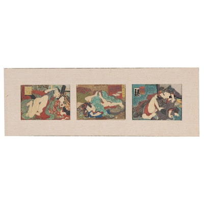 Japanese Erotic Shunga Woodblocks, Mid-19th Century