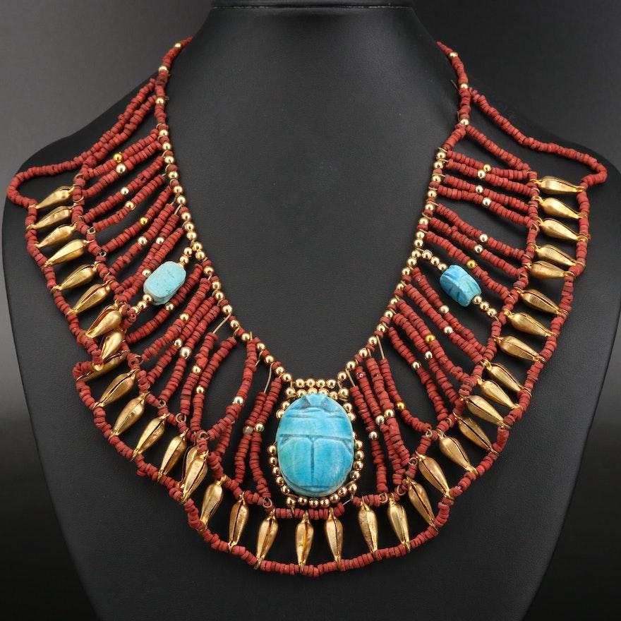 Egyptian Revival Scarab Faience Beaded Bib Necklace